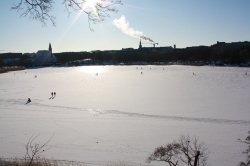 Töölönlahti in the center of Helsinki