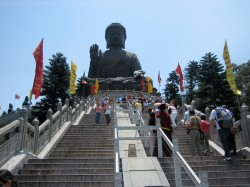 World's tallest, outdoor, seated bronze Buddha on Lantau Island