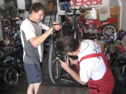 Jussi's bike was fixed at Las Cabezas de San Juan
